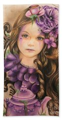 Beach Towel featuring the drawing Lavender  by Sheena Pike