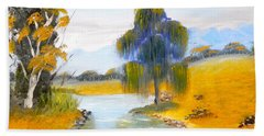 Beach Towel featuring the painting Lawson River by Pamela  Meredith