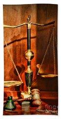 Lawyer - Scales Of Justice Beach Towel by Paul Ward