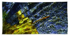 Leaf In Creek - Blue Abstract Beach Towel