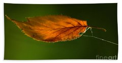 Leaf On Spiderwebstring Beach Towel