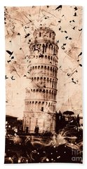 Leaning Tower Of Pisa Sepia Beach Towel