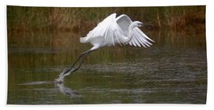 Leaping Egret Beach Towel by Leticia Latocki