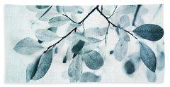 Leaves In Dusty Blue Beach Towel