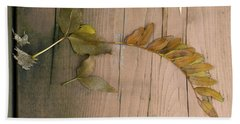 Leaves On A Wooden Step Beach Towel