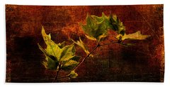 Leaves On Texture Beach Towel