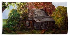 Beach Towel featuring the painting Leaves On The Cabin Roof by Eloise Schneider