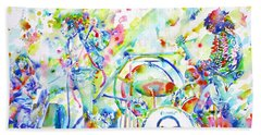 Led Zeppelin Live Concert - Watercolor Painting Beach Towel by Fabrizio Cassetta