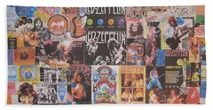 Led Zeppelin Years Collage Beach Sheet by Donna Wilson