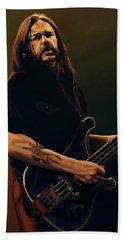 Lemmy Kilmister Painting Beach Towel by Paul Meijering