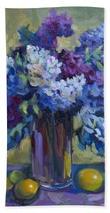 Lemons And Lilacs Beach Towel by Diane McClary