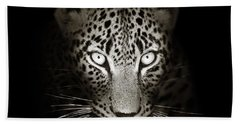 Leopard Portrait In The Dark Beach Towel
