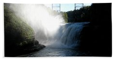 Letchworth State Park Upper Falls And Railroad Trestle Beach Towel