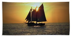 A Key West Sail At Sunset Beach Towel