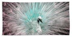 Leucistic White Peacock Beach Towel