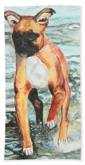 Beach Towel featuring the painting Leyla by Jeanne Fischer
