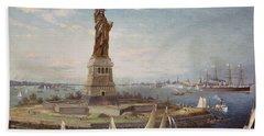 Liberty Island New York Harbor Beach Towel