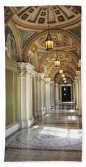 Library Of Congress Hallway Washington Dc Beach Sheet by Mary Lee Dereske