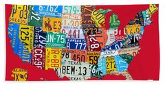 License Plate Map Of The United States On Bright Red Beach Towel
