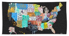 License Plate Map Of The United States On Gray Felt With Black Box Frame Edition 14 Beach Towel