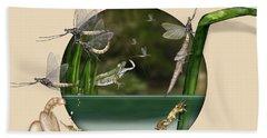Life Cycle Of Mayfly Ephemera Danica - Mouche De Mai - Zyklus Eintagsfliege - Stock Illustration - Stock Image Beach Towel