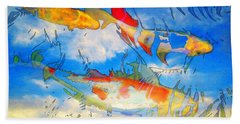 Life Is But A Dream - Koi Fish Art Beach Towel by Sharon Cummings
