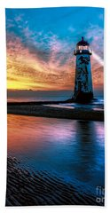 Light House Sunset Beach Towel
