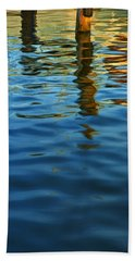 Light Reflections On The Water By A Dock At Aransas Pass Beach Towel