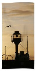 Light Ship Silhouette At Sunset Beach Towel