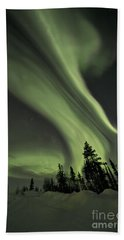 Light Swirls Over The Midnight Dome Beach Towel