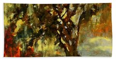Light Through The Moss Tree Landscape Painting Beach Towel