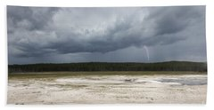 Beach Towel featuring the photograph Lightening At Yellowstone by Belinda Greb