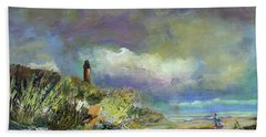 Lighthouse And Fisherman Beach Towel