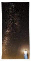 Lighthouse And Milky Way Beach Towel