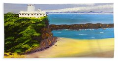 Beach Sheet featuring the painting Lighthouse At Nobbys Beach Newcastle Australia by Pamela  Meredith