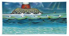 Lighthouse Fish 030414 Beach Towel by Selena Boron