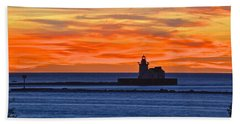 Lighthouse In Silhouette Beach Towel