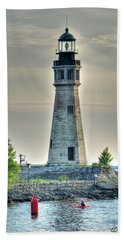 Lighthouse Just Before Sunset At Erie Basin Marina Beach Towel by Michael Frank Jr