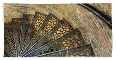 Lighthouse Spiral Staircase Beach Towel by Jean Goodwin Brooks