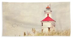 Lighthouse With Red Roof Beach Sheet