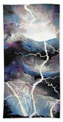 Beach Sheet featuring the painting Lightning by Daniel Janda