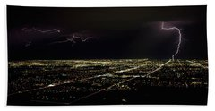 Lightning In The Sky Over A City Beach Towel by Panoramic Images
