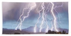 Lightning Striking Longs Peak Foothills 4c Beach Towel