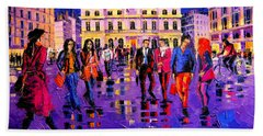 Lights And Colors In Terreaux Square Beach Towel