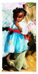 Beach Towel featuring the painting Lil Girl  by Vannetta Ferguson