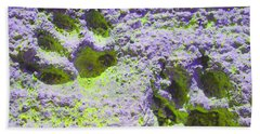 Lilac And Green Pawprints Beach Towel