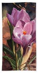 Lilac Crocuses Beach Towel by Greta Corens