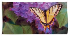 Lilacs And Swallowtail Butterfly Purple Flowers Garden Decor Painting  Beach Sheet
