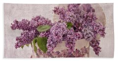 Beach Towel featuring the photograph Lilacs In The Box by Sandra Foster