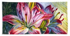 Beach Towel featuring the painting Lilies Twin by Harsh Malik
